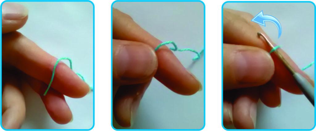 Рабочая нить на пальце, придерживаем ее и заводим крючок под нить.