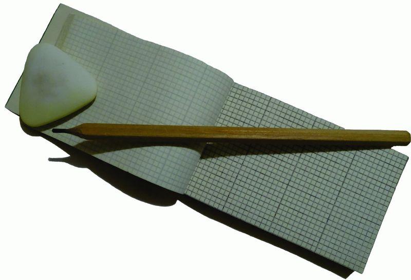"""Инструменты для вязания крючком - блокнот, """"стёрка"""", карандаш. Все, что надо для быстрой записи гениальной идеи."""