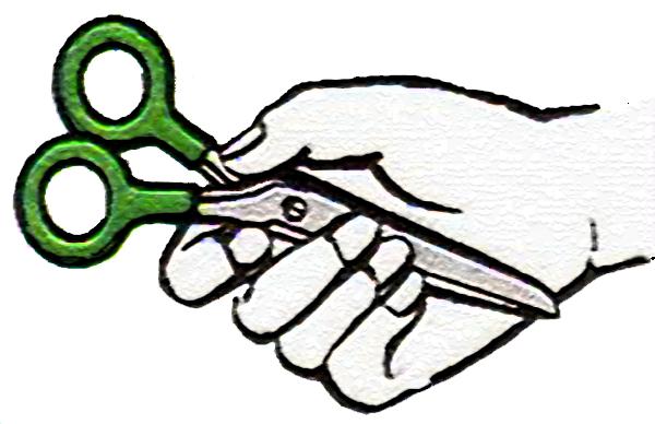 Соблюдаем технику безопасности при передачи ножниц.