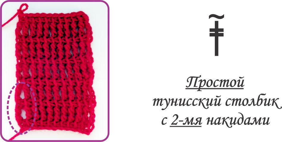 Любое число накидов, в данном случае 2. Внешний вид простого тунисского столбика с двумя накидами.