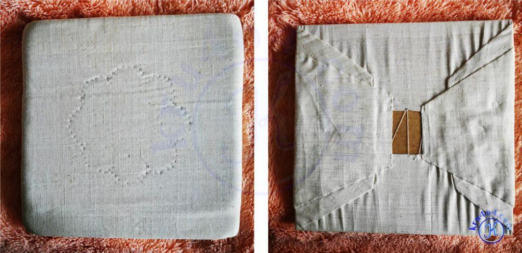 Растянуть вязаное изделие можно с помощью жесткой подушки.