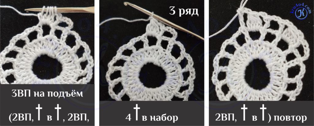 Салфеточка крючком - первый фрагмент из 4 незаконченных ССН в набор.