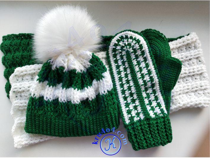 Вязаный комплект - варежки, шарф и шапка.