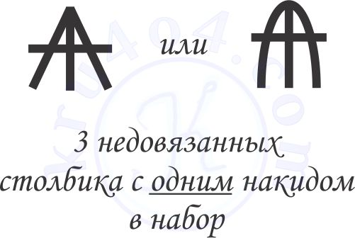 Условные обозначения вязания крючком 3 недовязанных столбиков с накидом.