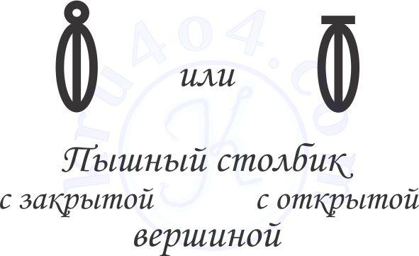 Символы обозначающие пышные столбики с открытой и закрытой вершиной.