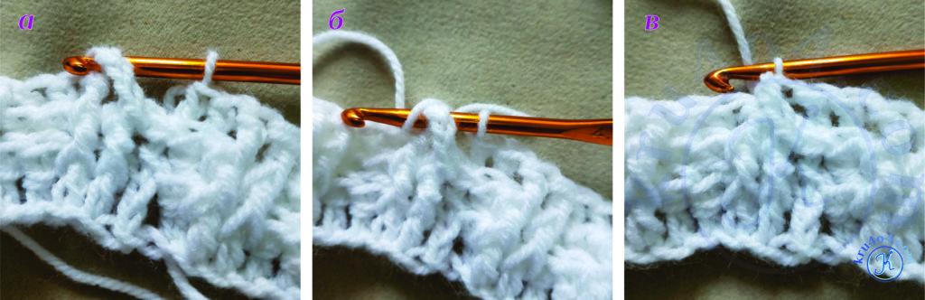 Шапочка крючком - соединительный столбик в резинке 2 на 2.