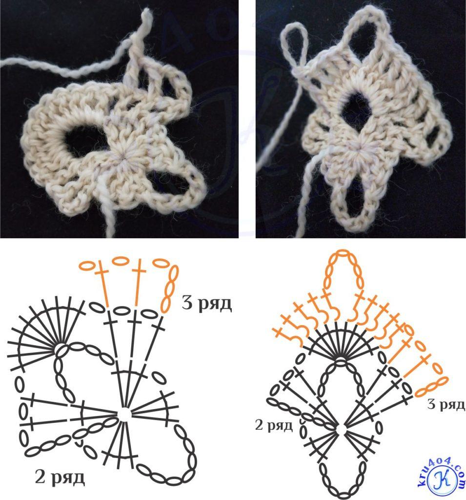 Ажурный шарф крючком - 3 ряд в условных обозначениях.
