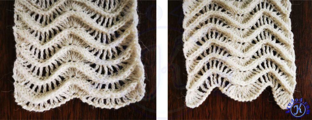 Шарф рельефными столбиками - начало и конец шарфа.