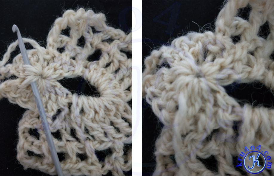 Ажурный шарф крючком, нитка для второй половины.