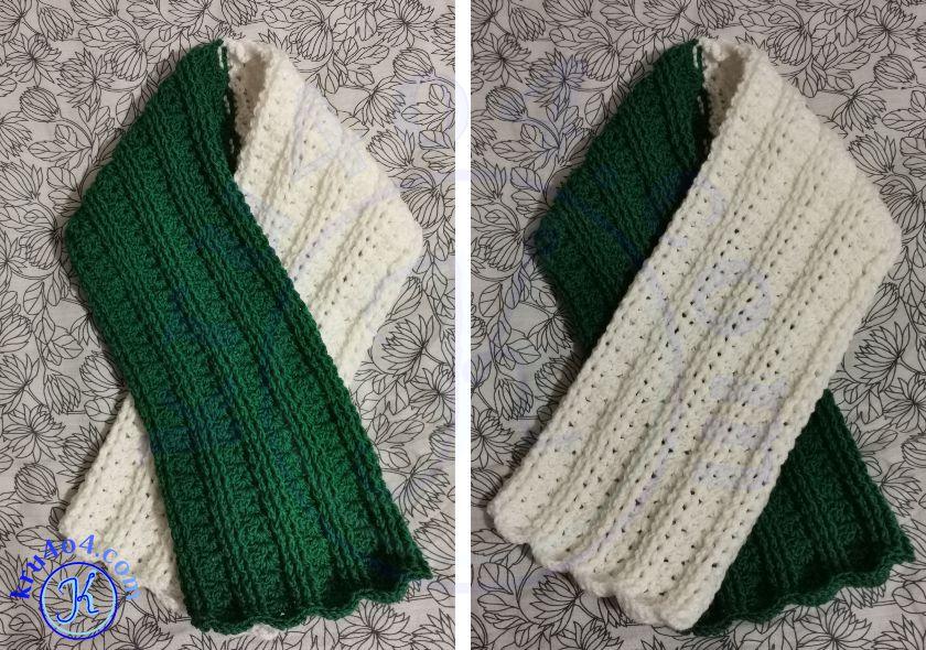 Шарф из зелено-белого комплекта с варежками и шапкой.