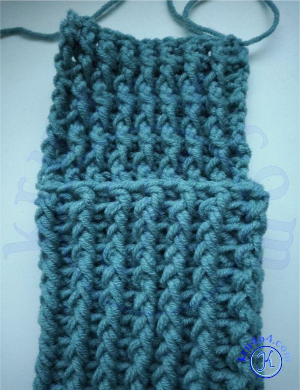 Носки вяжем крючком полотно для пятки.