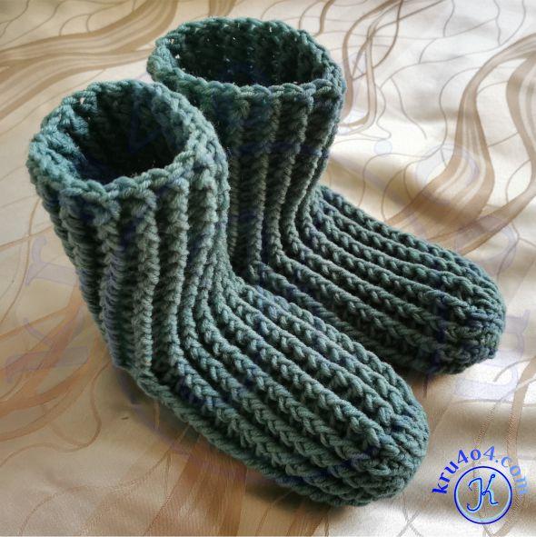 Носки крючком связанные резинкой