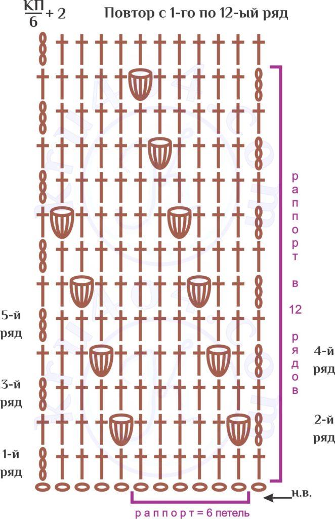 Попкорн крючком схема вязания диагонального рисунка.