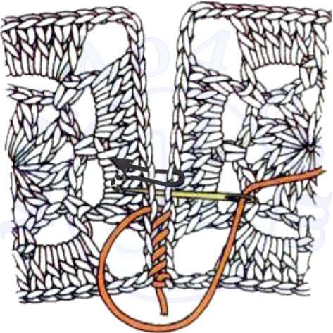 Соединение связанных крючком мотивов с помощью иглы.