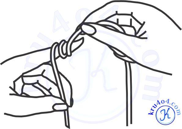 Двойной оборот нитки вокруг пальца.