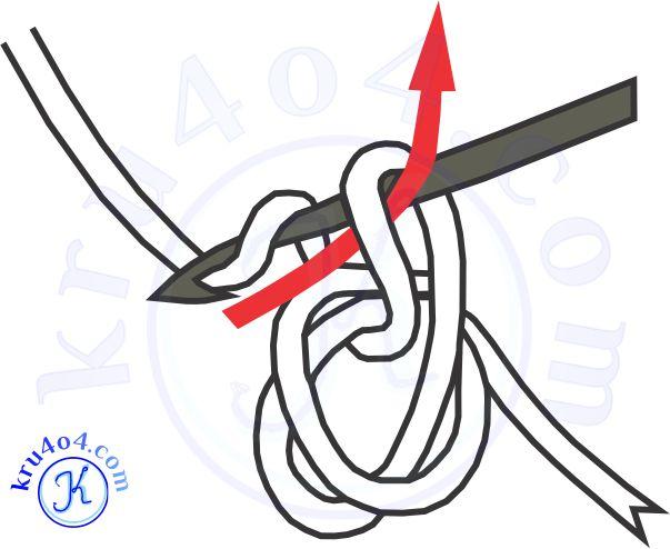 Захватываем нить и протягиваем сквозь образовавшуюся петлю.