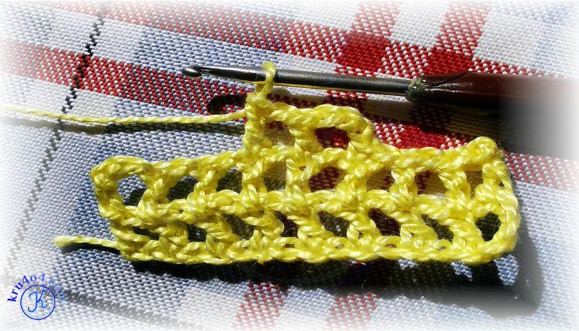Соединительный столбик в филейном вязании.