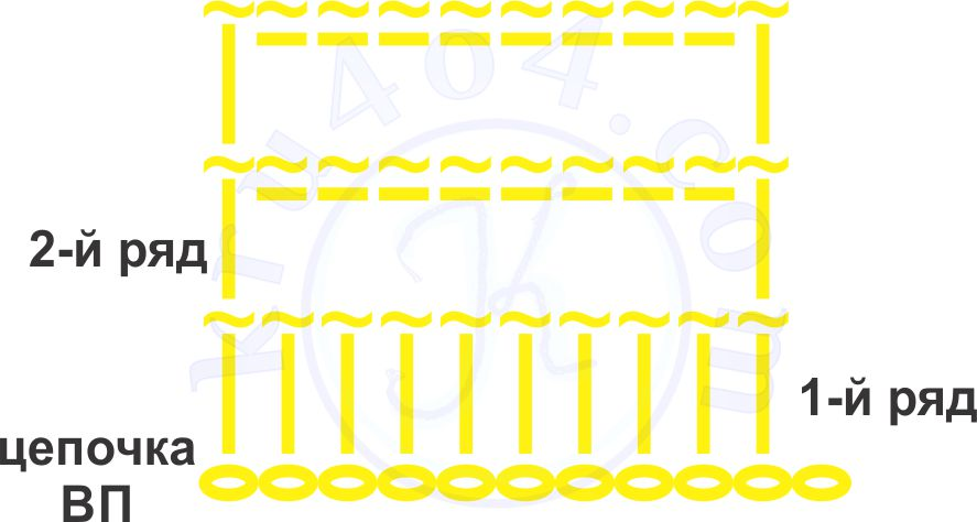 Схема вязания образца изнаночного столбика.