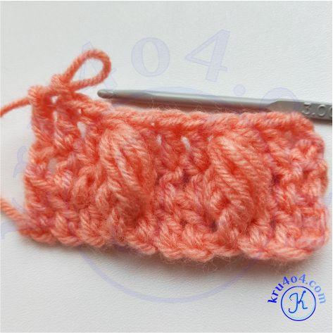 Рельефное вязание крючком - 1 ряд с выпуклым пышным столбиком через ряд.