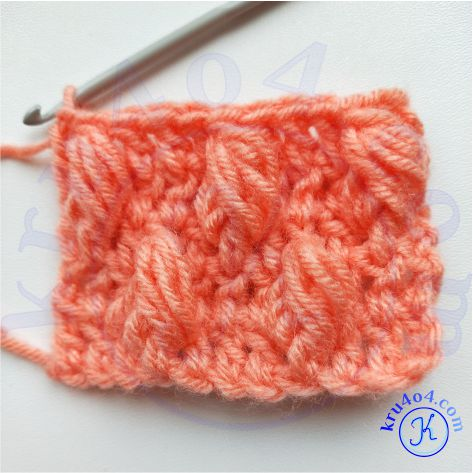 Рельефное вязание крючком - объёмный пышный рельефный столбик готовый образец.