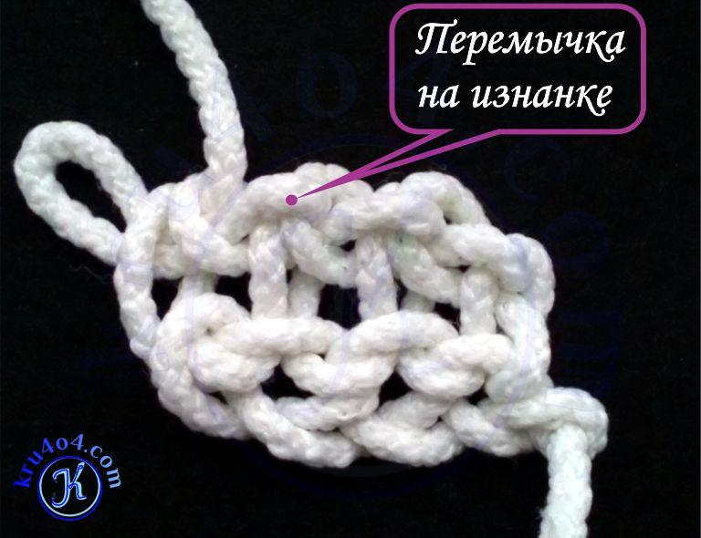 Нитка с обратной стороны вязания - перемычка с изнанки.