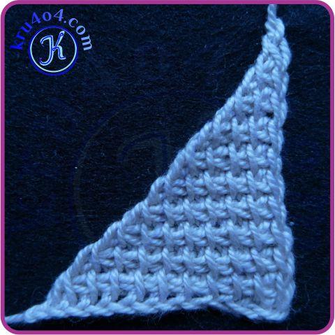 Равносторонний треугольник тунисским крючком - начало с катета.