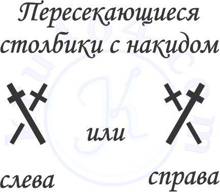 Условные обозначения вязания крючком пересекающихся столбиков с накидом.