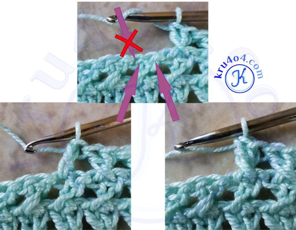 Показано как правильно вводить крючок под 3 нитки в столбике предыдущего ряда.