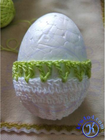 Обвязать яйцо крючком - рагульки.