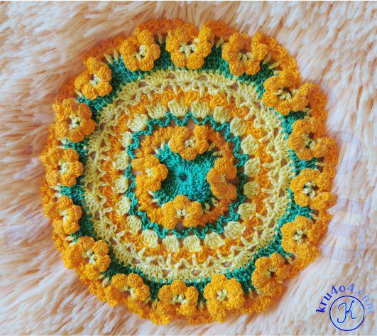 Готовая салфеточка с объёмными цветочками