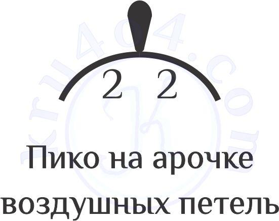 Условные обозначения вязания крючком пико на арке ВП.