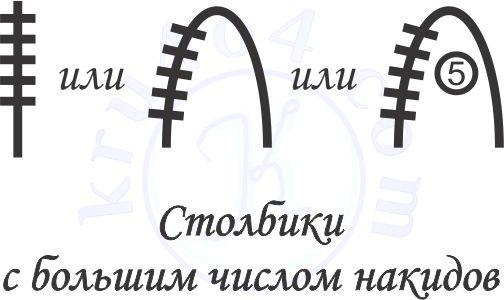 Условные обозначения вязания крючком - столбик с 5 накидами.