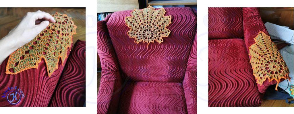 Кленовый лист крючком на кресле.