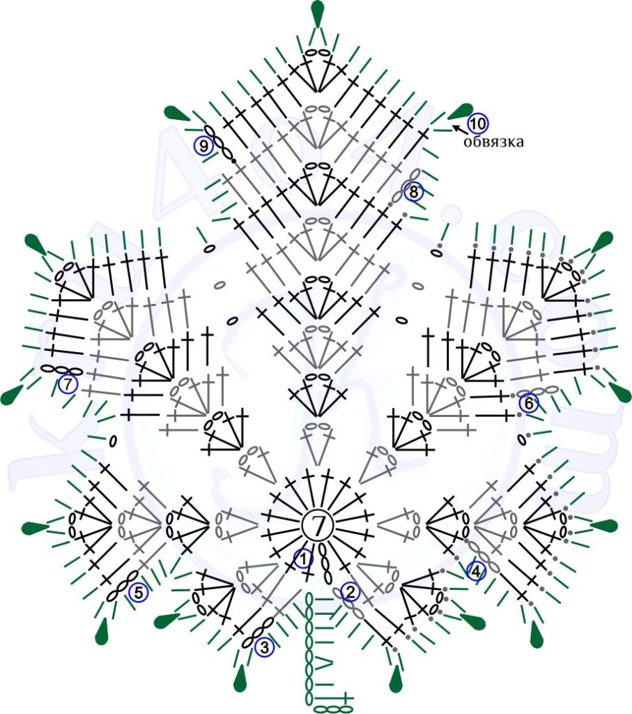 Кленовый лист крючком ССН - схема.